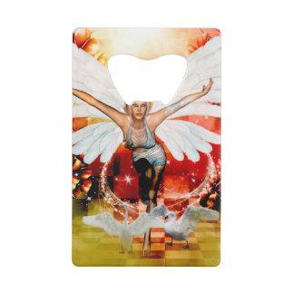 Wonderful fairy with swan credit card bottle opener