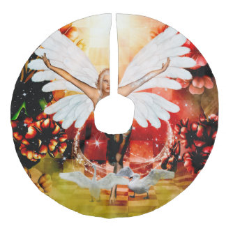 Wonderful fairy with swan faux linen tree skirt