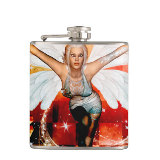 Wonderful fairy with swan hip flask