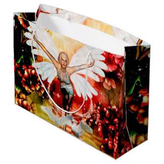 Wonderful fairy with swan large gift bag