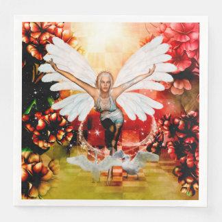 Wonderful fairy with swan paper napkin