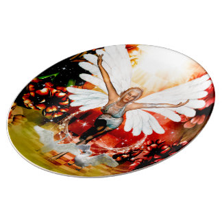 Wonderful fairy with swan porcelain plate