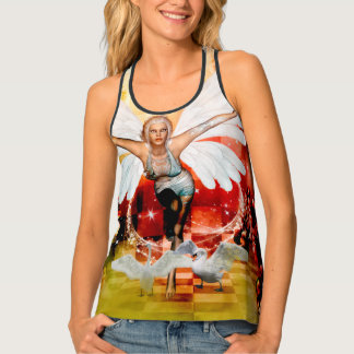 Wonderful fairy with swan tank top