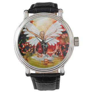 Wonderful fairy with swan watch