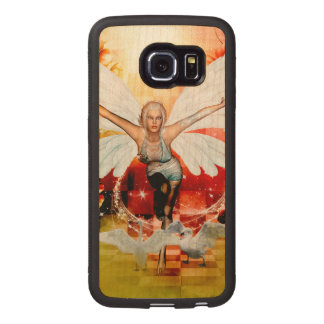 Wonderful fairy with swan wood phone case