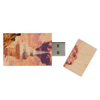 Wonderful fantasy landscape wood USB 2.0 flash drive