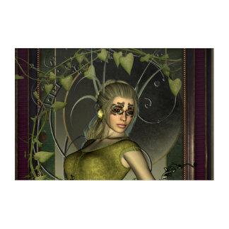 Wonderful fantasy women with leaves acrylic print