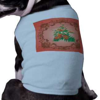 Wonderful flowers and leaves with floral elements pet tee