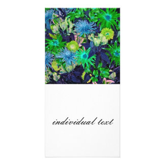 wonderful flowers blue picture card