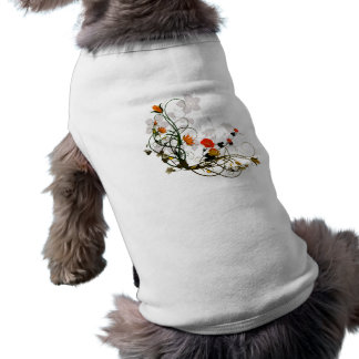Wonderful flowers in red and yellow dog shirt