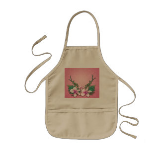 Wonderful  flowers on soft pink background kids apron