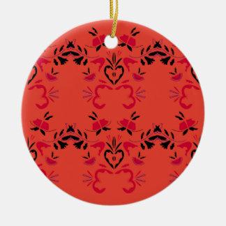 Wonderful Folk design Orange Ceramic Ornament