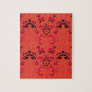 Wonderful Folk design Orange Jigsaw Puzzle