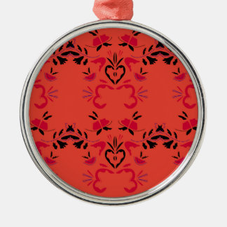 Wonderful Folk design Orange Metal Ornament