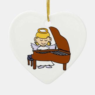 Wonderful Girl Angel Playing Piano Ceramic Heart Ornament