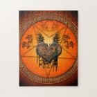 Wonderful heart made of rusty metal jigsaw puzzle