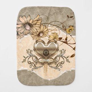 Wonderful heart with flowers baby burp cloth