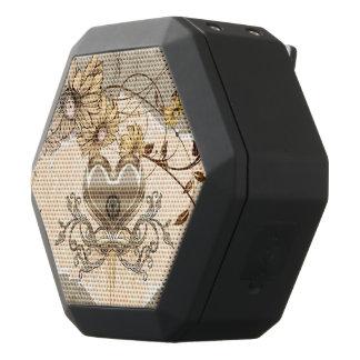 Wonderful heart with flowers black bluetooth speaker