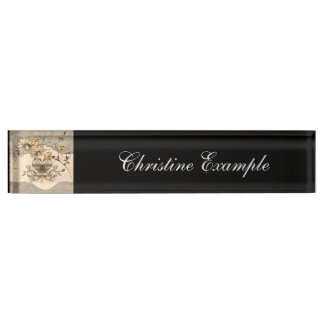 Wonderful heart with flowers nameplate