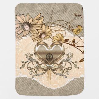 Wonderful heart with flowers receiving blankets