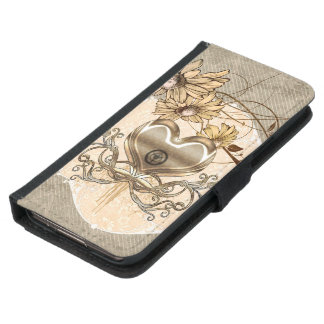 Wonderful heart with flowers samsung galaxy s5 wallet case