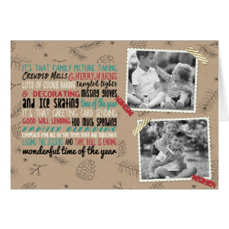 Wonderful Holiday Chaos Two Photo Greeting Card