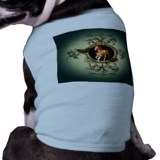 Wonderful horse in a circle with floral elements dog tee