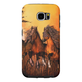 Wonderful horses running by a forest samsung galaxy s6 cases