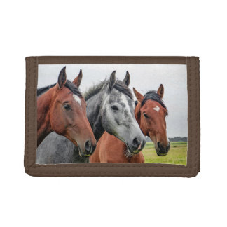 Wonderful Horses Wildlife Ridding Tri-fold Wallets