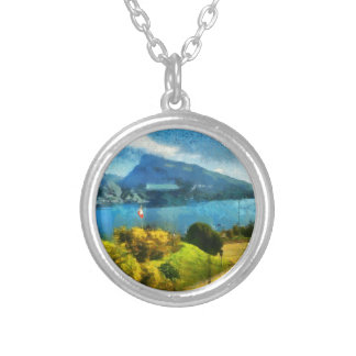 Wonderful lake landscape in Switzerland Silver Plated Necklace
