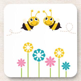 Wonderful little cute Bees yellow Beverage Coaster