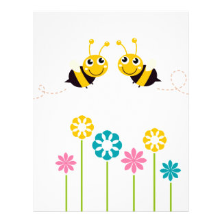 Wonderful little cute Bees yellow Letterhead