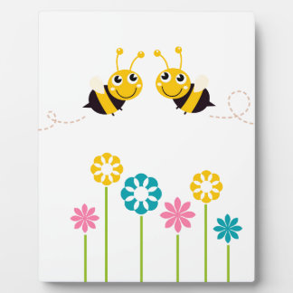 Wonderful little cute Bees yellow Plaque