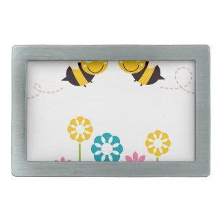 Wonderful little cute Bees yellow Rectangular Belt Buckles
