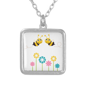 Wonderful little cute Bees yellow Silver Plated Necklace