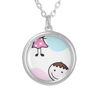 Wonderful little kids / creative t-shirts silver plated necklace