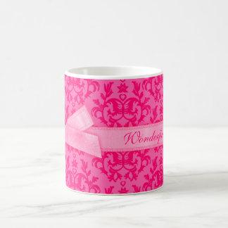 """""""Wonderful Mom"""" damask hot pink mom mug"""