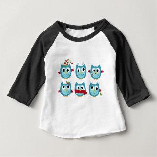 Wonderful owls blue on white baby T-Shirt