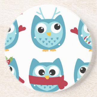 Wonderful owls blue on white coaster