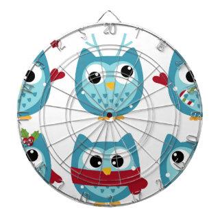 Wonderful owls blue on white dartboard