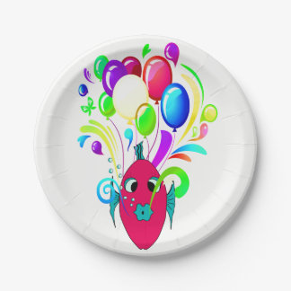 WONDERFUL PINK FISH WITH BALLOONS PAPER PLATE