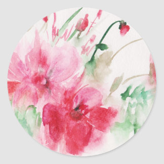 Wonderful pink flowers classic round sticker