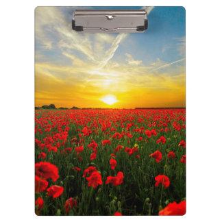 Wonderful Poppy Field Sunset Horizon Clipboard