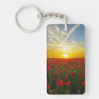 Wonderful Poppy Field Sunset Horizon Keychain