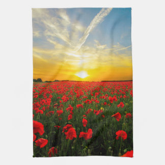 Wonderful Poppy Field Sunset Horizon Kitchen Towel