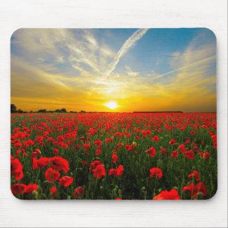 Wonderful Poppy Field Sunset Horizon Mouse Pad