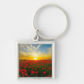 Wonderful Poppy Field Sunset Horizon Silver-Colored Square Keychain