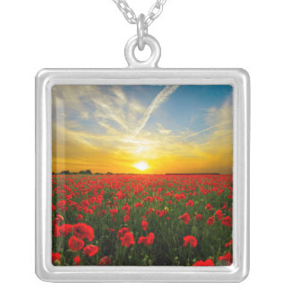 Wonderful Poppy Field Sunset Horizon Silver Plated Necklace