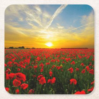 Wonderful Poppy Field Sunset Horizon Square Paper Coaster