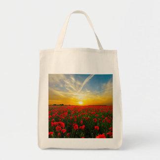 Wonderful Poppy Field Sunset Horizon Tote Bag